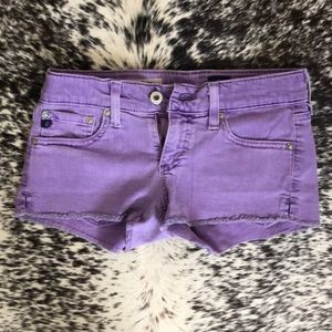Purple AG denim shorts